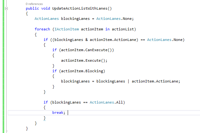 Action Item Iterator With Lanes